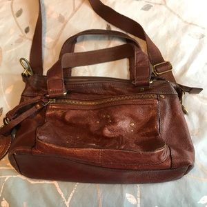 Fossil vintage crossbody brown leather bag